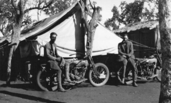 f12fc85f9876 06.06.1929 - 16.09.1930  Fred Bendle and Harry Hobson were two motorcyle  travellers Around Australia on two Harley Davidson with sidecars. 10.000  miles.